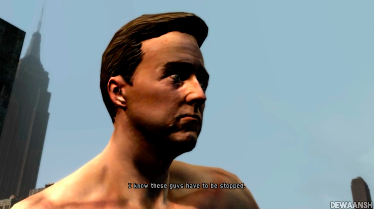 A cinematic from the 2008 Incredible Hulk game based on Edward Norton's likeness.