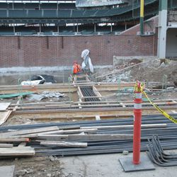 View of the left-field corner and foundation preparation