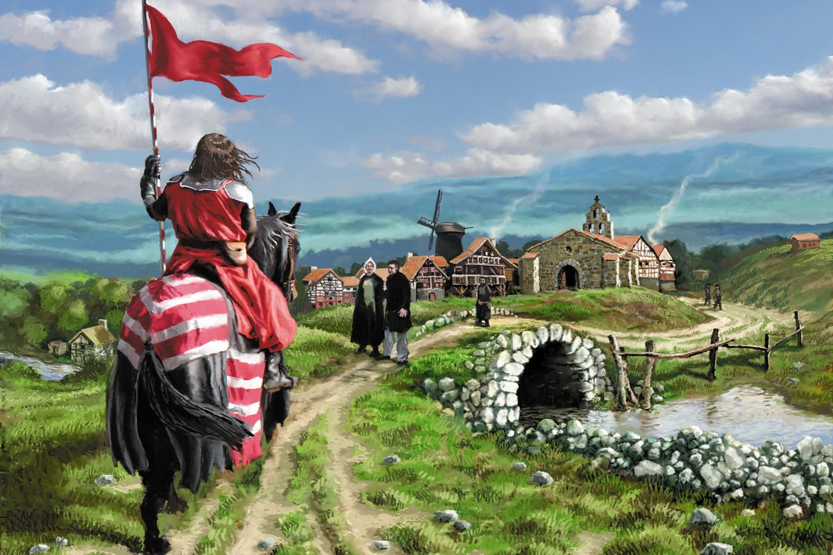 A knight riding along a rural road in key art for Dominion.
