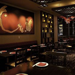 Asian inspirations are found in the artwork and decor.