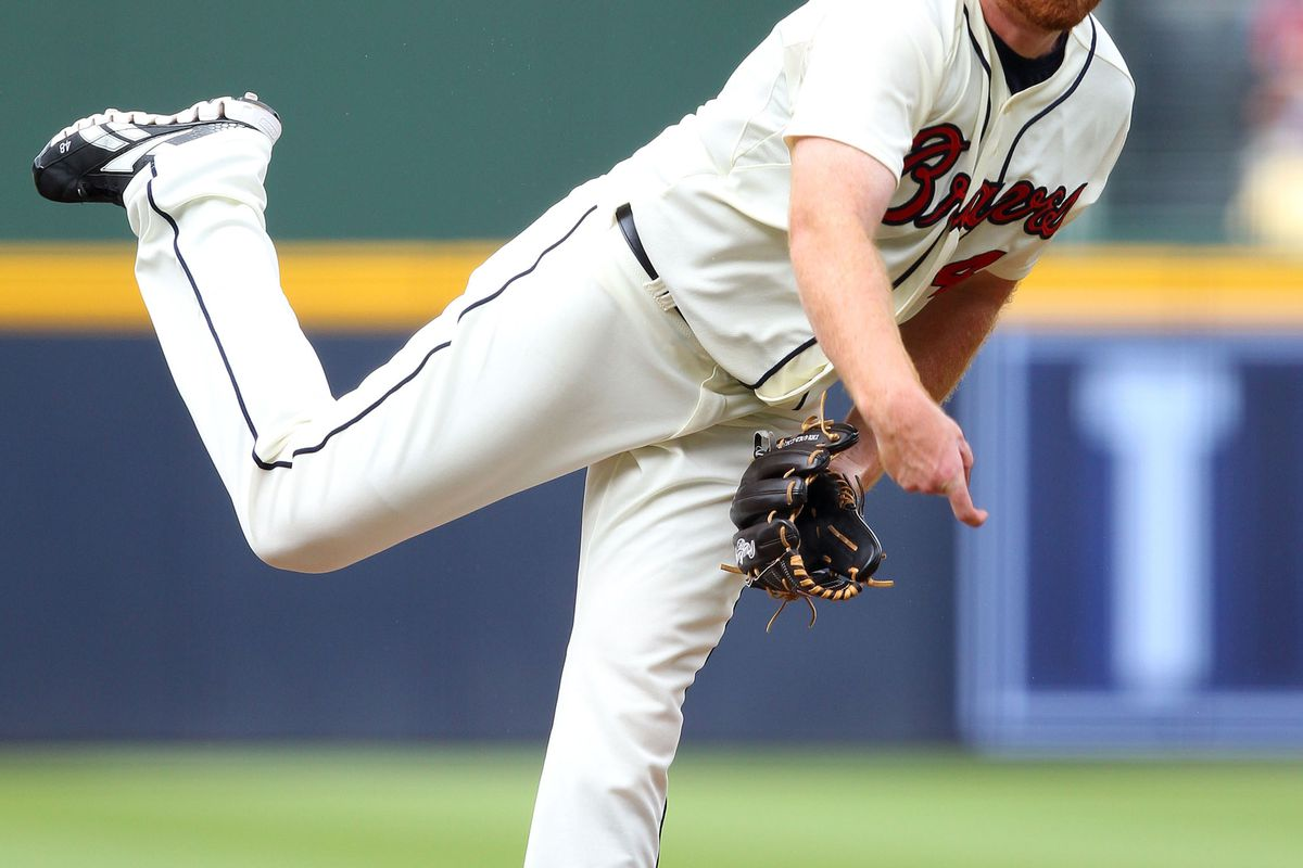 ATLANTA, GA - SEPTEMBER 15:  Pitcher Tommy Hanson #48 of the Atlanta Braves throws a pitch during the game against the Washington Nationals at Turner Field on September 15, 2012 in Atlanta, Georgia.  (Photo by Mike Zarrilli/Getty Images)