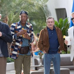 "Kevin Kline as Sam Harris, Morgan Freeman as Archie Clayton, Robert De Niro as Paddy Connors and Michael Douglas as Billy Gherson in ""Last Vegas."""