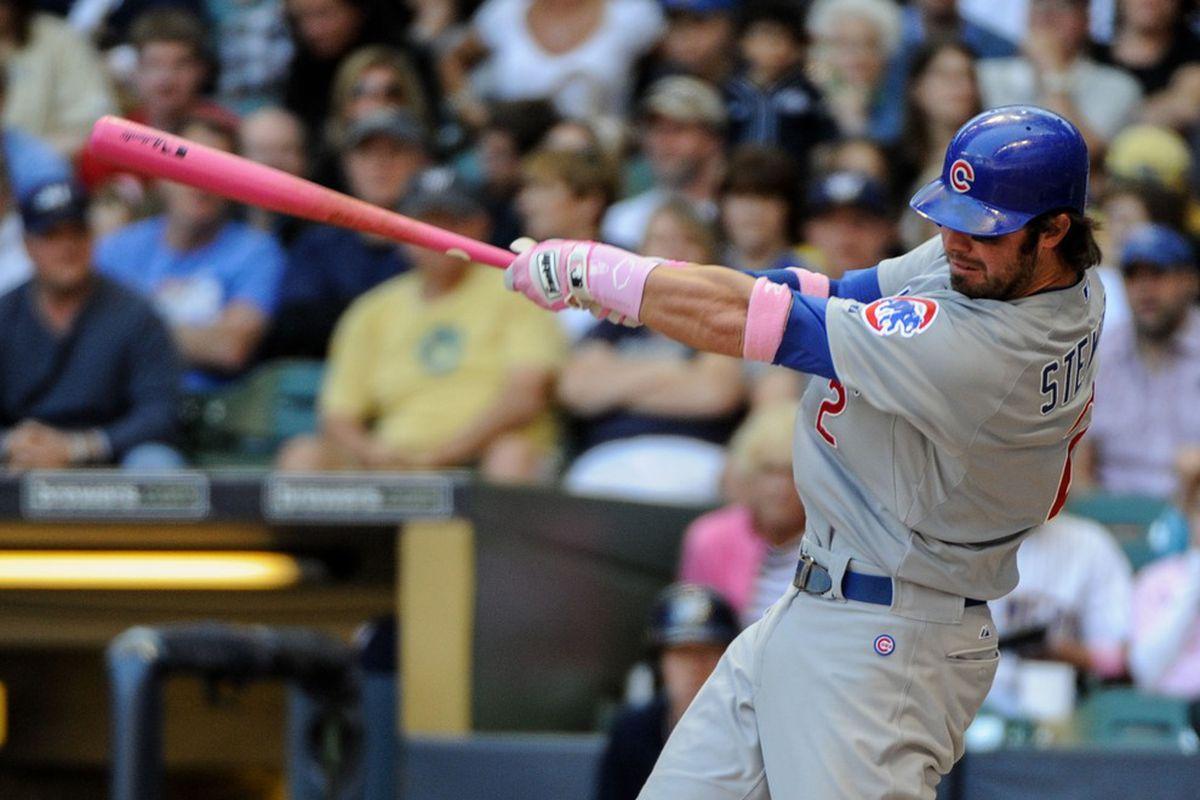 Milwaukee, WI, USA;  Chicago Cubs third baseman Ian Stewart hits a home run off Milwaukee Brewers pitcher Marco Estrada at Miller Park. Credit: Benny Sieu-US PRESSWIRE