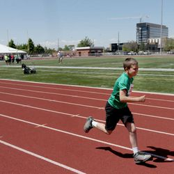Andrew Perkins, of Tooele City Giants, competes in the 50-meter race at the Special Olympics Utah's 48th annual Summer Games at Provo High School on Friday, June 2, 2017. Nearly 1,300 athletes will compete during the two-day event with support from nearly 500 coaches and hundreds of volunteers.