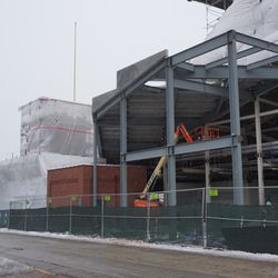 The new seats being built over Gate K/J, along Waveland Avenue