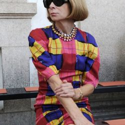 A close up: Anna Wintour attends the Missoni Spring/Summer 2012 fashion show as part Milan Womenswear Fashion Week on September 25, 2011 in Milan, Italy