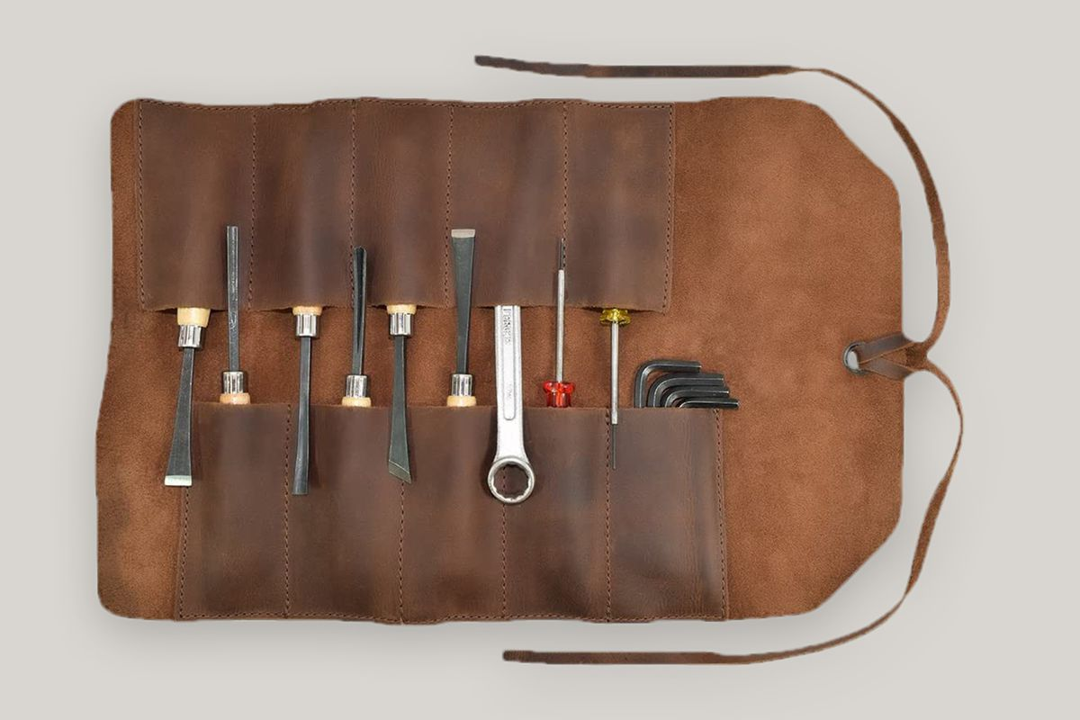 Hide & Drink, Rustic Leather Small Tool Roll Up Bag