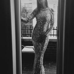 The legendary Cindy Crawford in silver sequins.