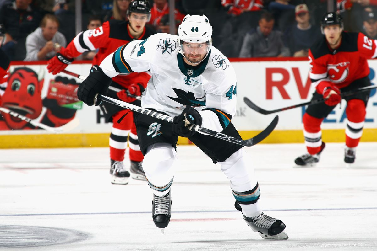 NEWARK, NJ - OCTOBER 20: Marc-Edouard Vlasic #44 of the San Jose Sharks skates against the New Jersey Devils at the Prudential Center on October 20, 2017 in Newark, New Jersey. The Sharks shutout the Devils 3-0.