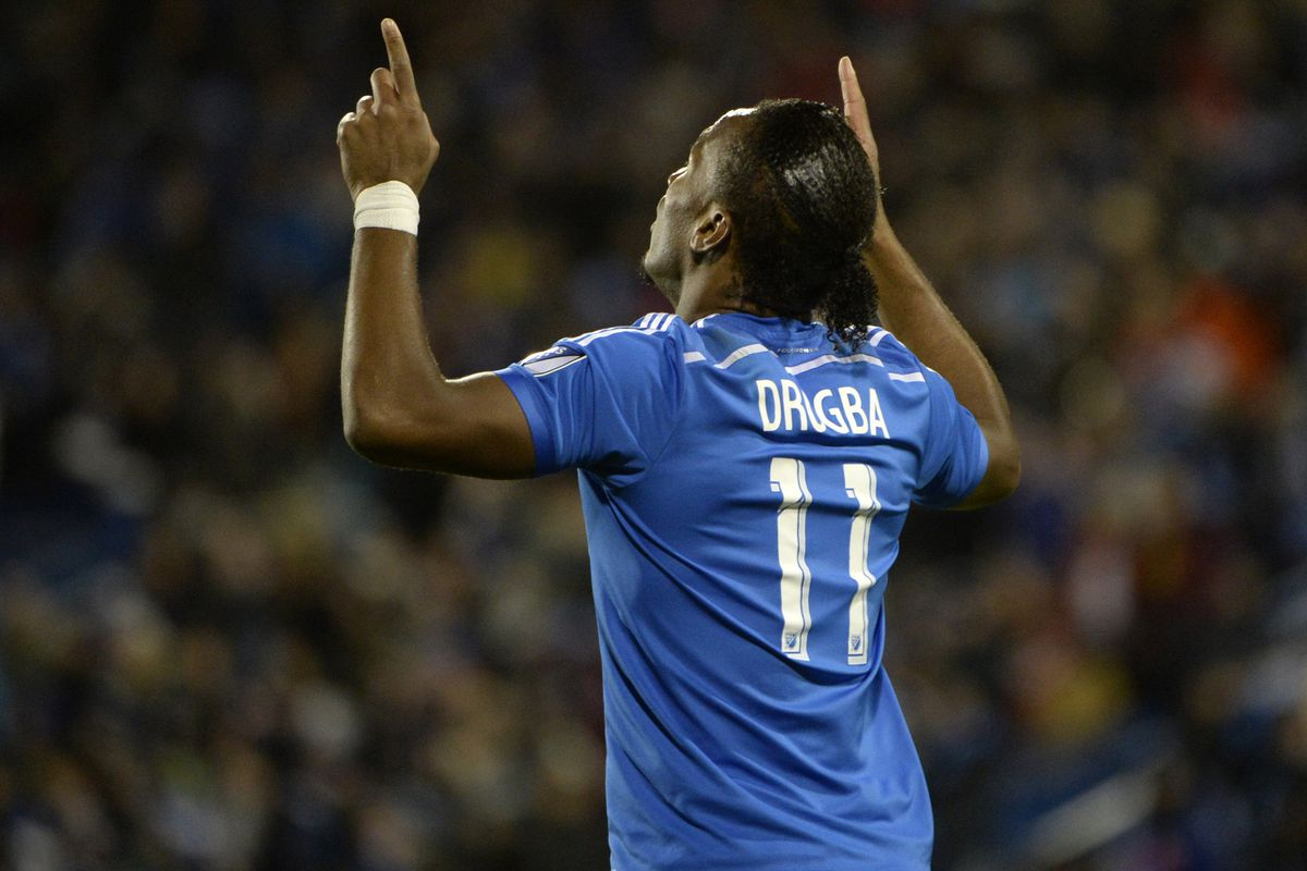 Drogba celebrates after scoring the equalizer in IMFC's win on Sunday.