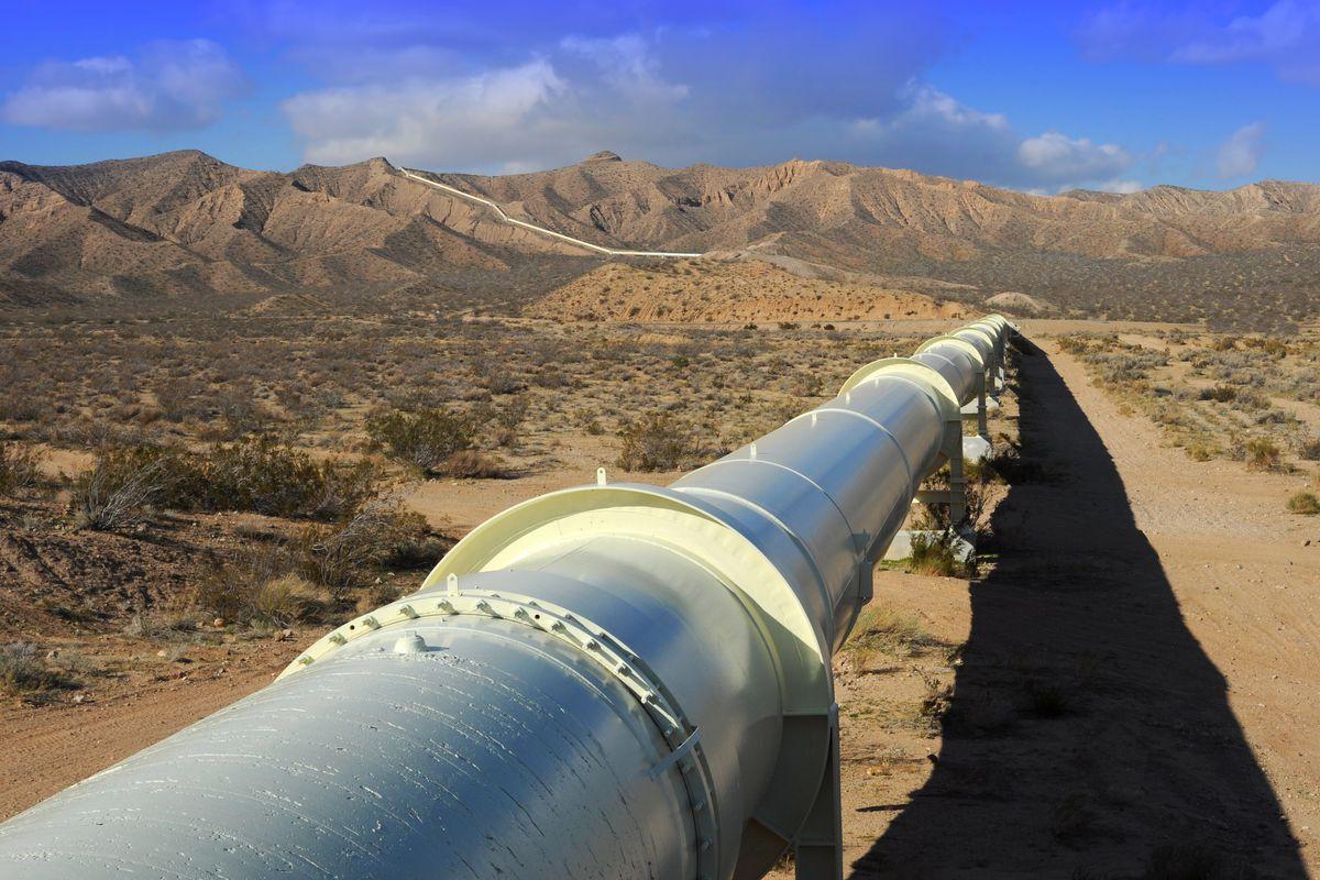 California aqueduct in the Mojave Desert.