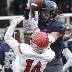 Action in the 6A championship football game between American Fork and Corner Canyon at Rice-Eccles Stadium in Salt Lake City on Friday, November 22, 2019.