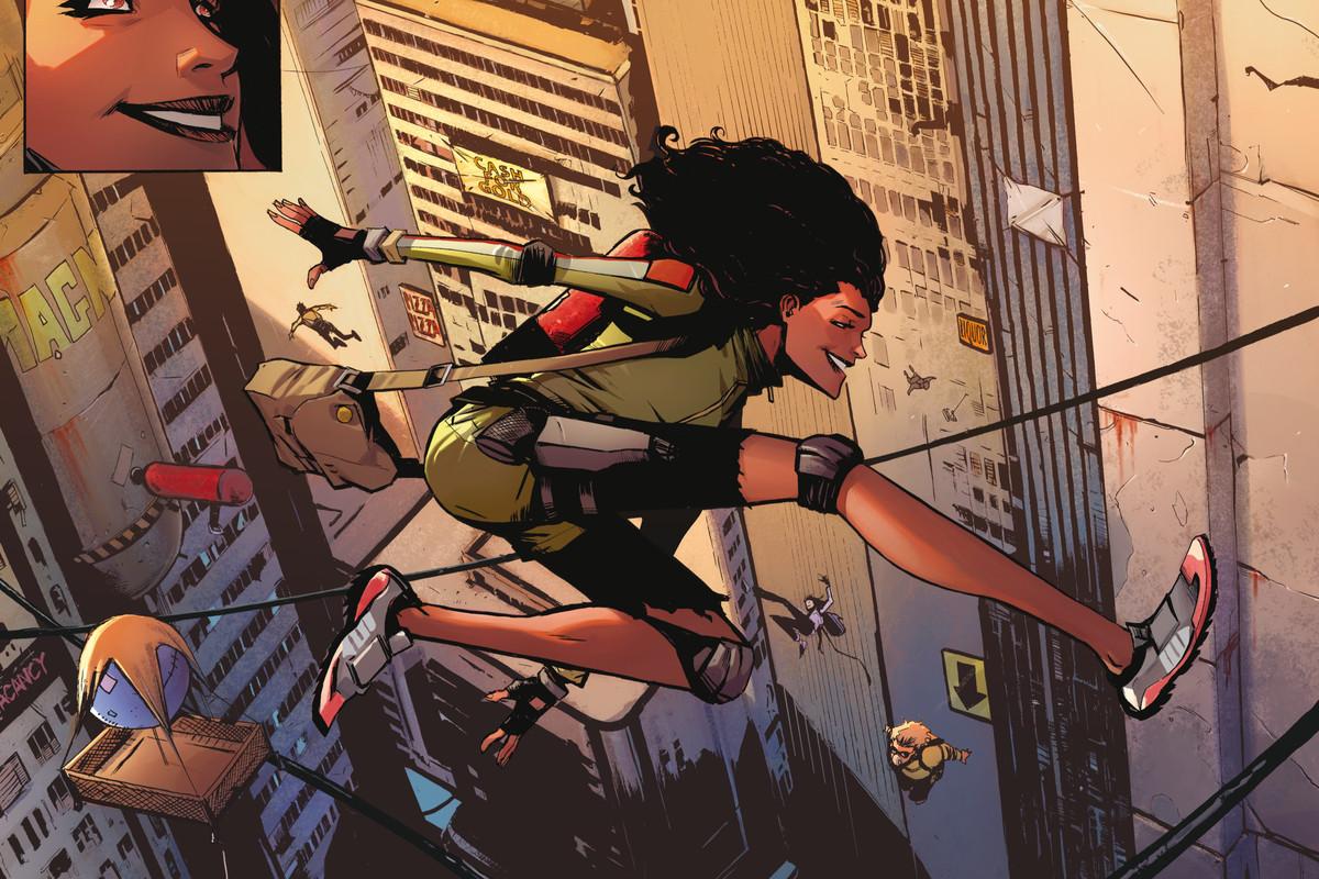 Splash page from Skyward #1, Image Comics (2018).