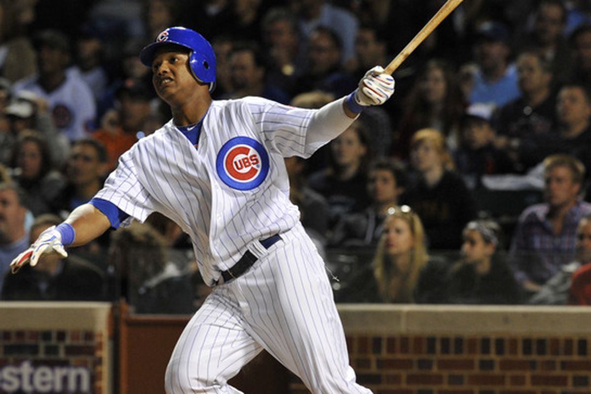 Starlin Castro of the Chicago Cubs bats against the Milwaukee Brewers on June 13, 2011 at Wrigley Field in Chicago, Illinois. The Cubs defeated the Brewers 1-0.  (Photo by David Banks/Getty Images)