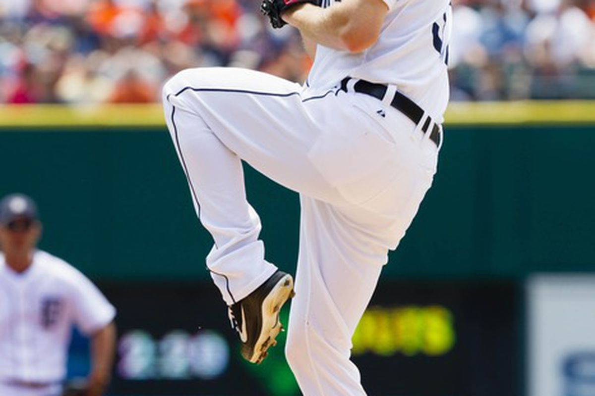 May 20, 2012; Detroit, MI, USA; Detroit Tigers starting pitcher Max Scherzer (37) pitches during the first inning against the Pittsburgh Pirates at Comerica Park. Mandatory Credit: Rick Osentoski-US PRESSWIRE