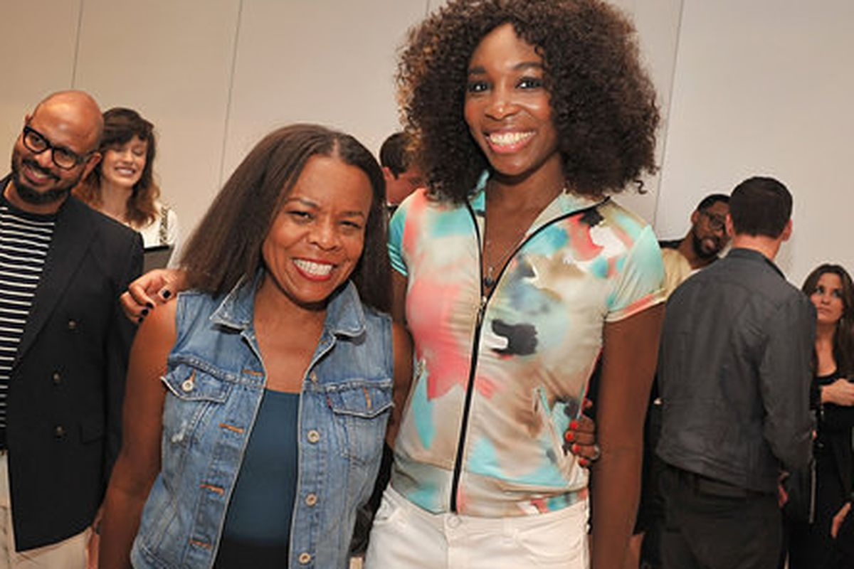 Teri Agins with Venus Williams at the tennis star's spring 2013 Fashion Week presentation. Photo: Getty Images