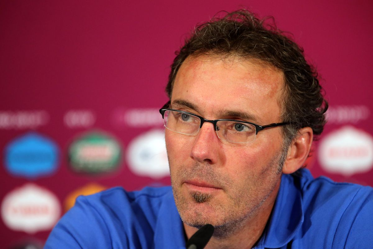 KIEV, UKRAINE - JUNE 18:  In this handout image provided by UEFA, Head coach Laurent Blanc of France talks to the media during a UEFA EURO 2012 press conference on June 19, 2012 in Kiev, Ukraine.  (Photo by Handout/UEFA via Getty Images)