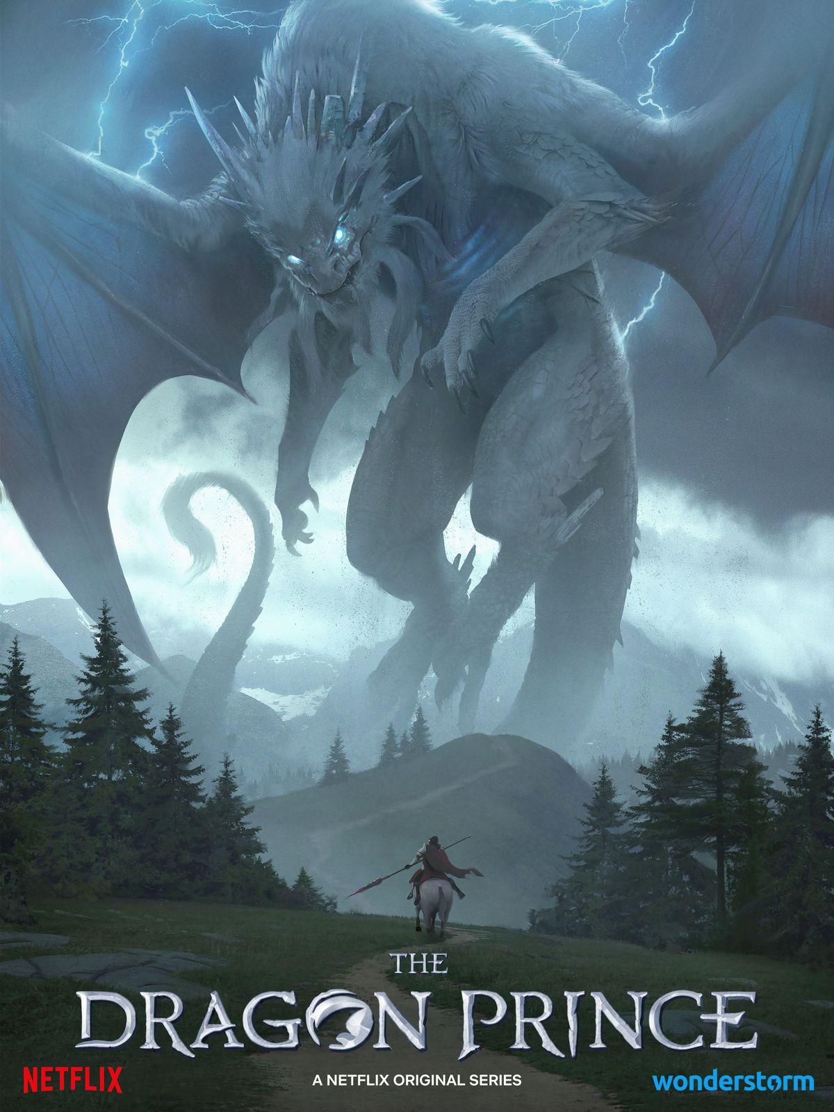 un caballero solitario a caballo se enfrenta a un gigantesco dragón gris tormentoso formidable