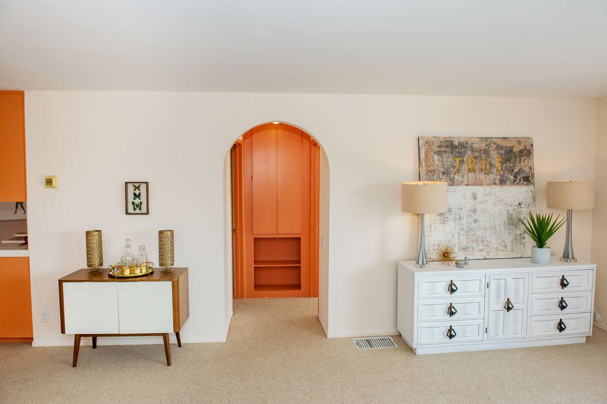 Arched doorway in living room