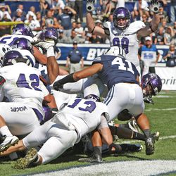 Weber State touchdown as Brigham Young University defeats Weber State University in football 45-6 Saturday, Sept. 8, 2012, in Provo, Utah.