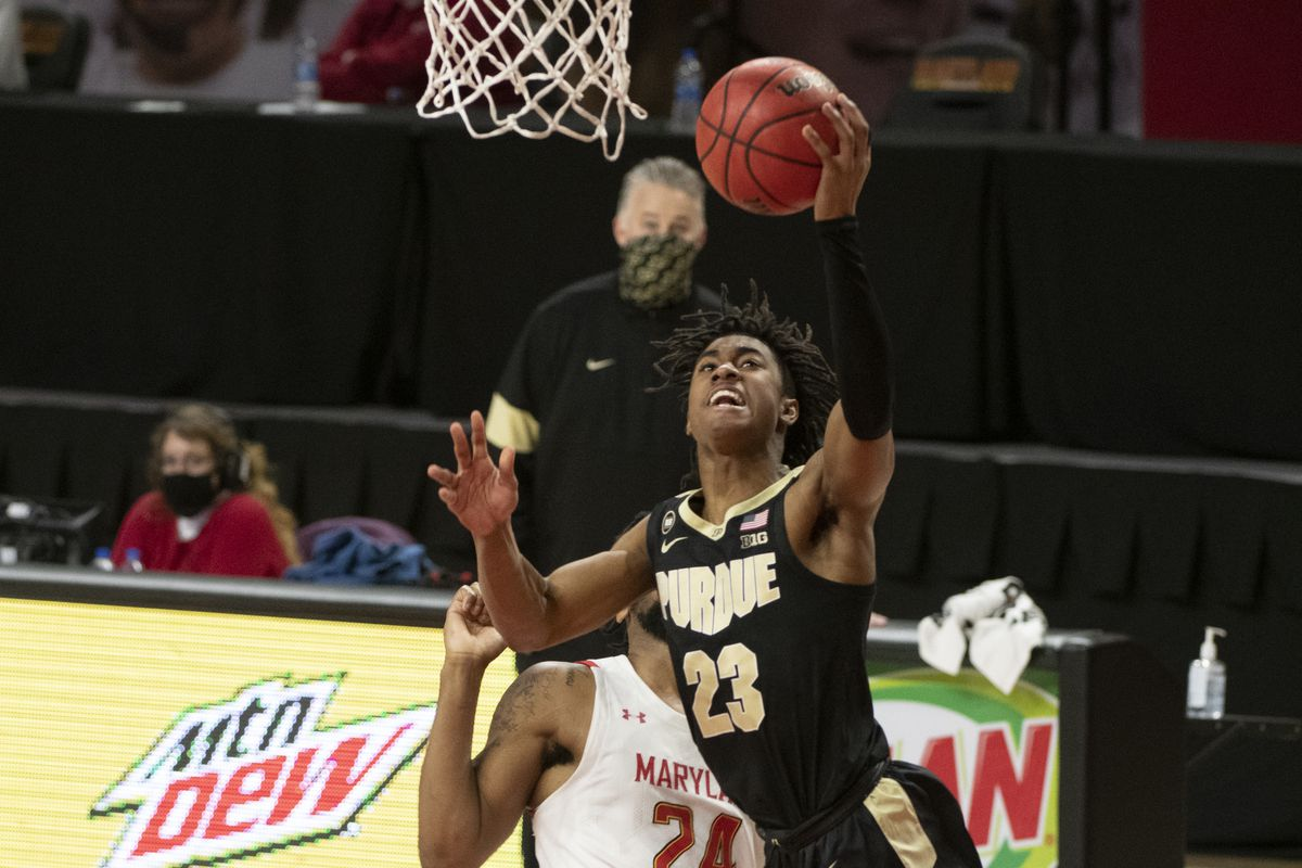 Purdue Boilermakers guard Jaden Ivey shoots as Maryland Terrapins forward Donta Scott defend durning the second half at Xfinity Center.