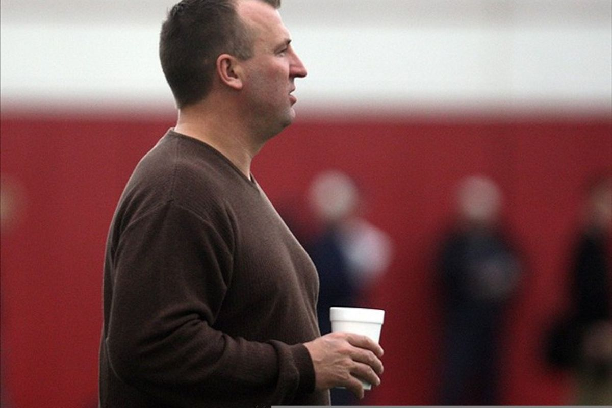 """Bret Bielema wouldn't say Joel Stave has """"moved ahead"""" of Joe Brennan at the top of the depth chart at quarterback, but Stave took all of the first-team reps in Saturday's scrimmage."""