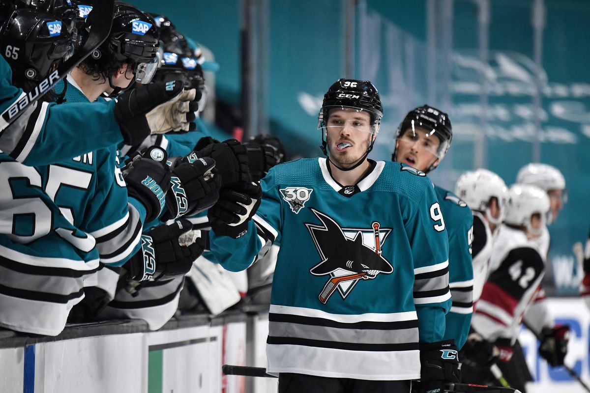 Rudolfs Balcers #92 of the San Jose Sharks celebrates scoring a goal against the Arizona Coyotes at SAP Center on May 8, 2021 in San Jose, California.