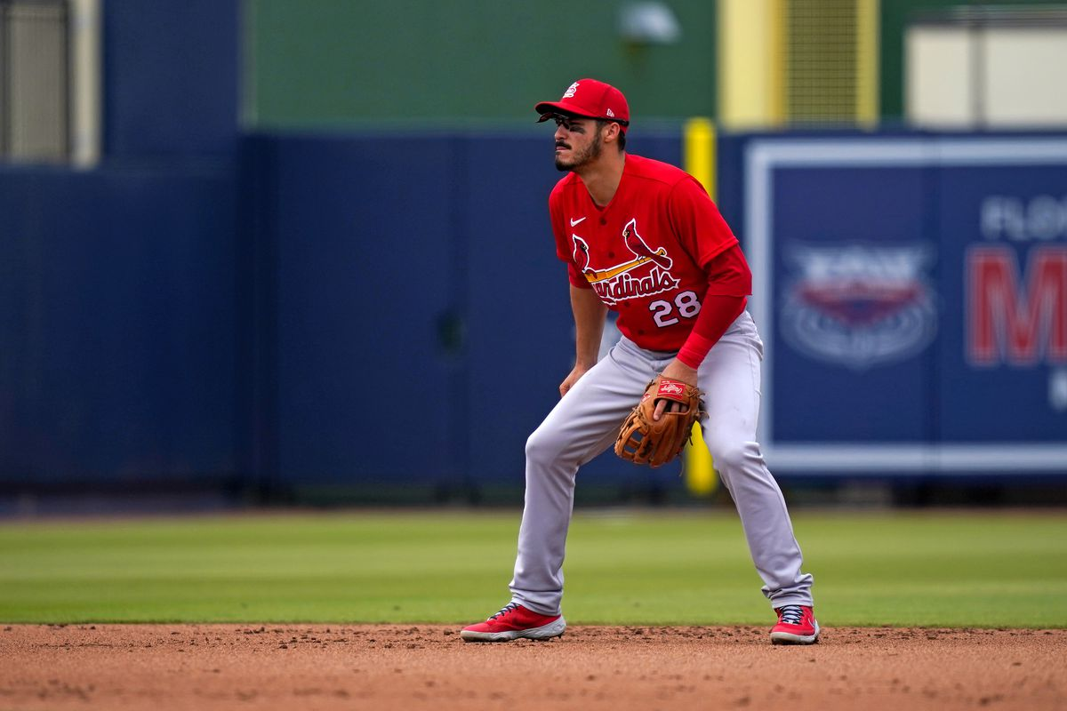 St. Louis Cardinals third baseman Nolan Arenado (28) plays his position in the 4th inning of the spring training game against the Washington Nationals at The Ballpark of the Palm Beaches.