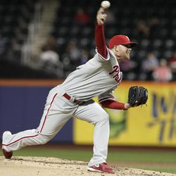 Philadelphia Phillies' Tyler Cloyd delivers a pitch during the first inning of a baseball game against the New York Mets on Thursday, Sept. 20, 2012, in New York.