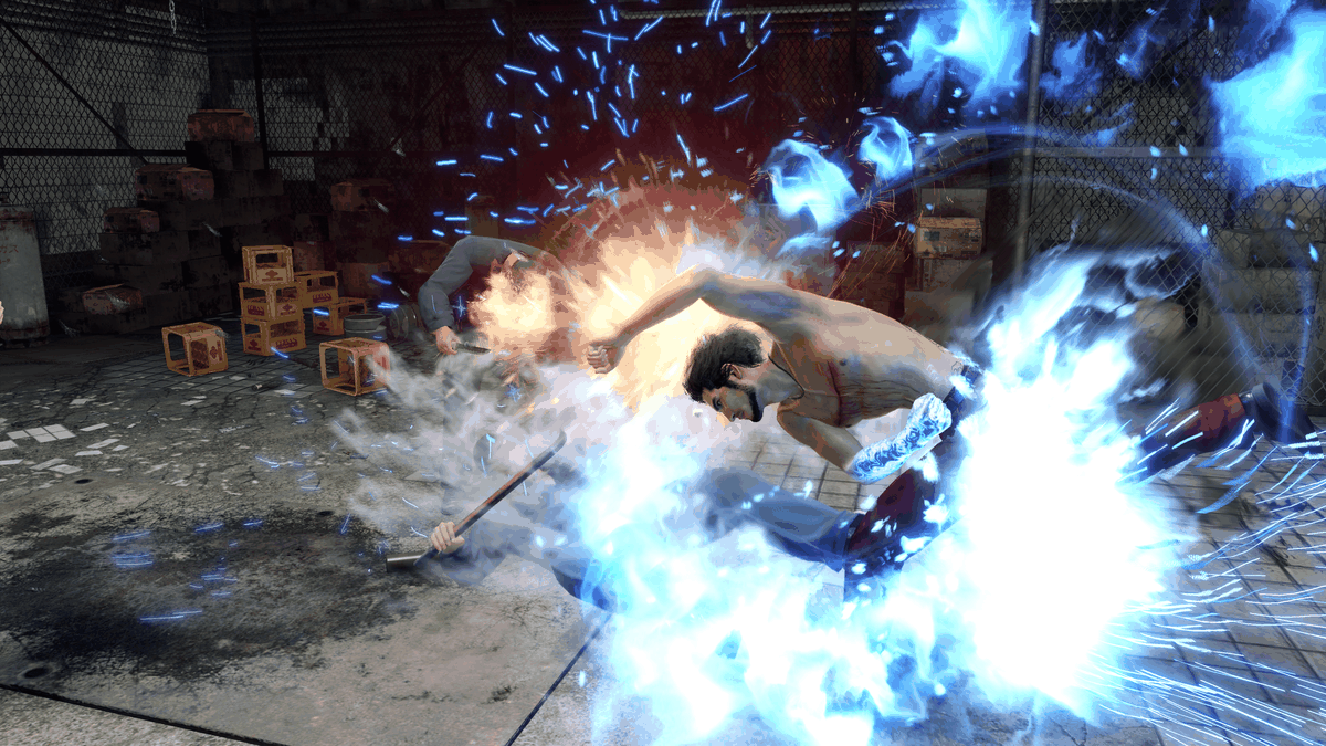 Ichiban gears up to deliver a huge, light-up attack in Yakuza: Like a Dragon