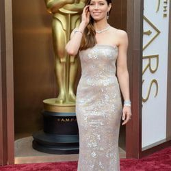Jessica Biel donned metallic Chanel Couture and brunette hair on the Oscars red carpet. Find Chanel at Wynn Las Vegas and Via Bellagio. She complimented her look with Manolo Blahnik shoes (Wynn Las Vegas) and Tiffany & Co. jewels (Shops at Crystals, Via B