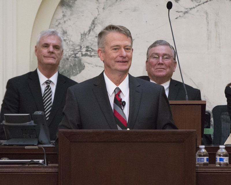 Idaho Gov. Brad Little delivers his State of the State address inside the house chambers at the state Capitol building, Monday, Jan. 7, 2019 in Boise, Idaho.