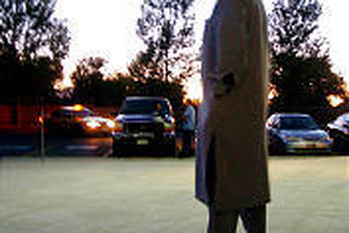 Imam Shuaib-Ud Din steps out of West Valley mosque to check for crescent moon that marks start of Ramadan.