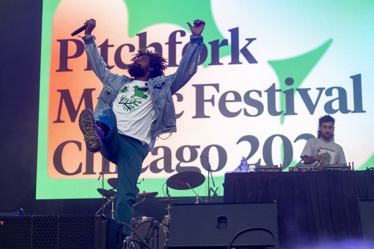 Danny Brown performs at the Green Stage at Pitchfork music festival at Union Park, Sunday, Sept. 12, 2021.