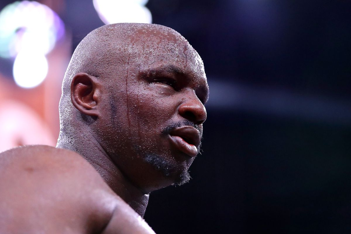 Dillian Whyte looks on after the Heavyweight fight between Dillian Whyte and Mariusz Wach during the Matchroom Boxing 'Clash on the Dunes' show at the Diriyah Season on December 07, 2019 in Diriyah, Saudi Arabia