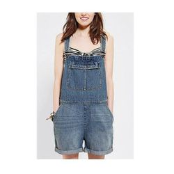 """Perfect for beach-side livin': pair classic denim """"shortalls"""" with swimwear, jelly sandals and a panama hat when your heading to the water, then swap in a crop top, gladiator sandals and beachy waves for running errands on your bike (adorable basket inclu"""