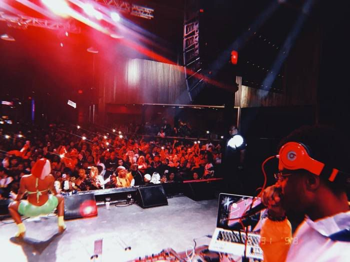 Megan The Stallion (left) and DJ WillAye (right) performing at Gas Monkey Live in Dallas, TX on March 31, 2019