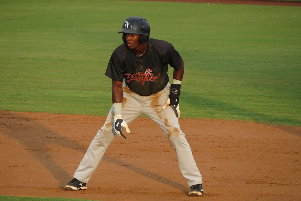 Jorge Mateo with the Tampa Yankees on August 5, 2015; Courtesy of