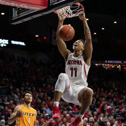 Arizona's Ira Lee slams down the two-hander during the Arizona-University of Texas El Paso game in McKale Center on November 14 in Tucson, Ariz. Lee finished with seven points and seven rebounds.