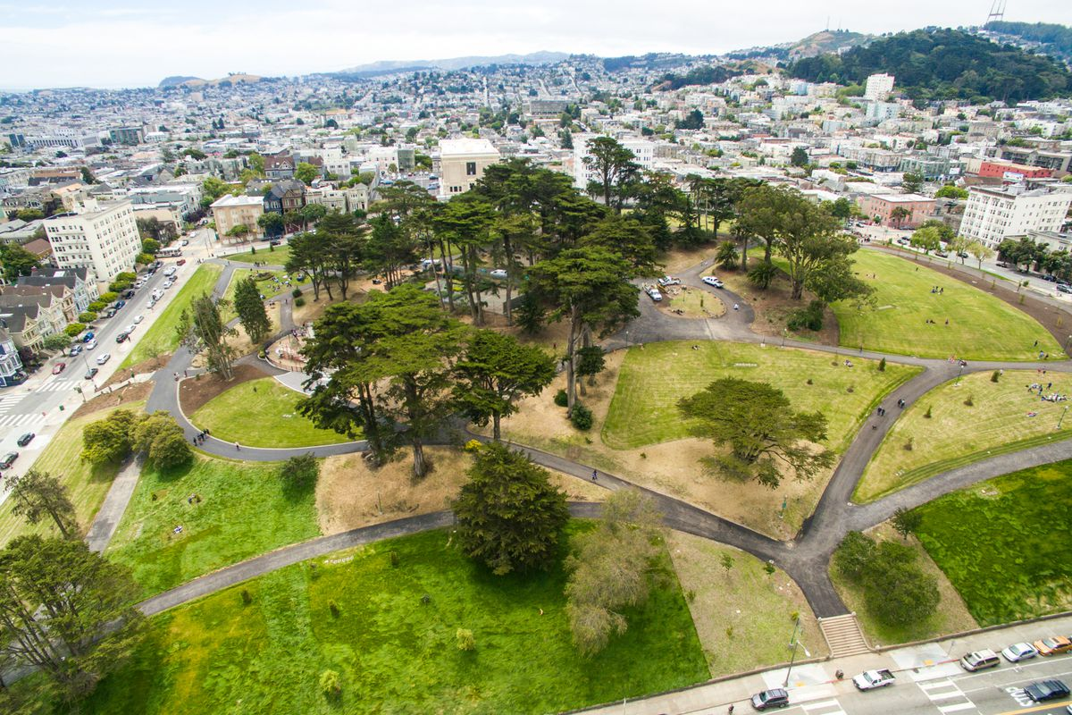 View of Alamo Square Park from above.