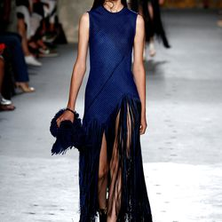 Fringed basketweave canvas maxi dress