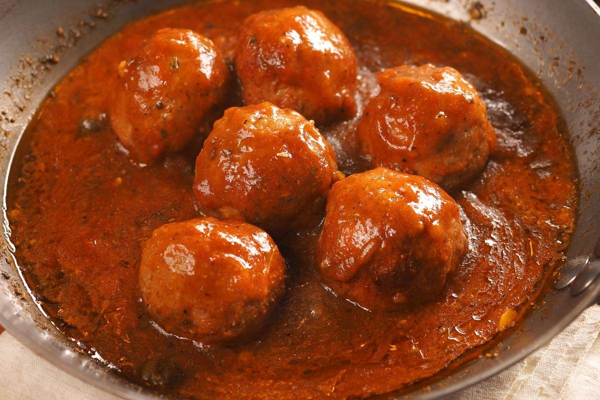 Meatballs with Pizzaiola Tomato Sauce. Italy. Europe