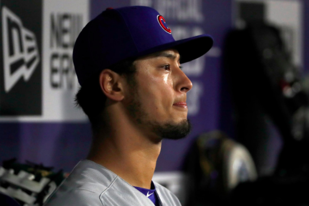 79f2068d4 Darvish in the dugout after being removed from the game in the third inning  Saturday night.