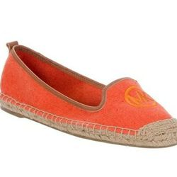 "<a href=""http://www.farfetch.com/shopping/women/michael-kors-logo-espadrille-item-10204627.aspx""> Michael Kors orange monogram espadrille</a>, $83 farfetch.com"
