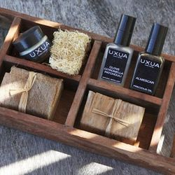 """<span><a href=""""http://uxua.com/hotel/organic-cosmetics"""">Uxua organic cosmetics</a>. Inquire at info@uxua.com to purchase.</span> <br></br> <b>Trancoso, Brazil:</b> Pamper yourself with the hotel products from the newest destination town of the wordly an"""
