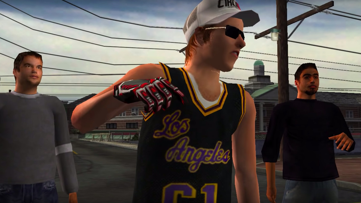 An aggressive skater gestures towards the camera in Tony Hawk's Underground