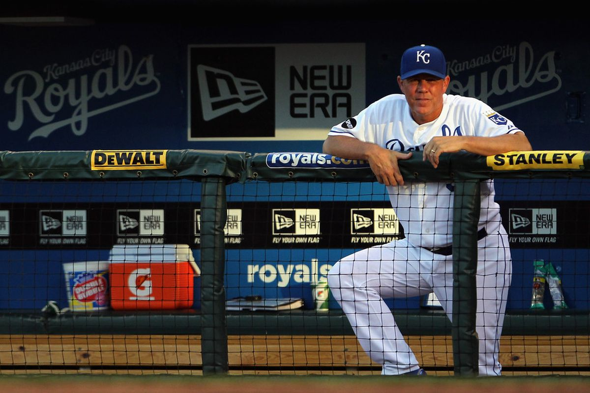 KANSAS CITY, MO - JULY 20:  Manager Ned Yost #3 of the Kansas City Royals watches from the dugout during the game against the Chicago White Sox on July 20, 2011 at Kauffman Stadium in Kansas City, Missouri.  (Photo by Jamie Squire/Getty Images)