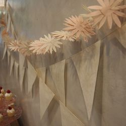 """Element 7: An exciting backdrop. """"Layer something neutral with something more graphic."""" (<a href=""""http://www.bhldn.com/shop-decor-view-all-decor/parchment-pennant-garland/productoptionids/fbcaeb8b-b90b-4e9a-9313-32da085940dd"""">Parchment Pennant Garland</a>"""