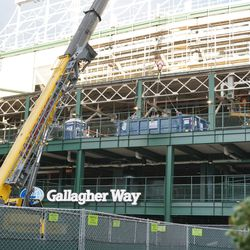 Deck above Gallagher Way Gate being used to hold dumpsters