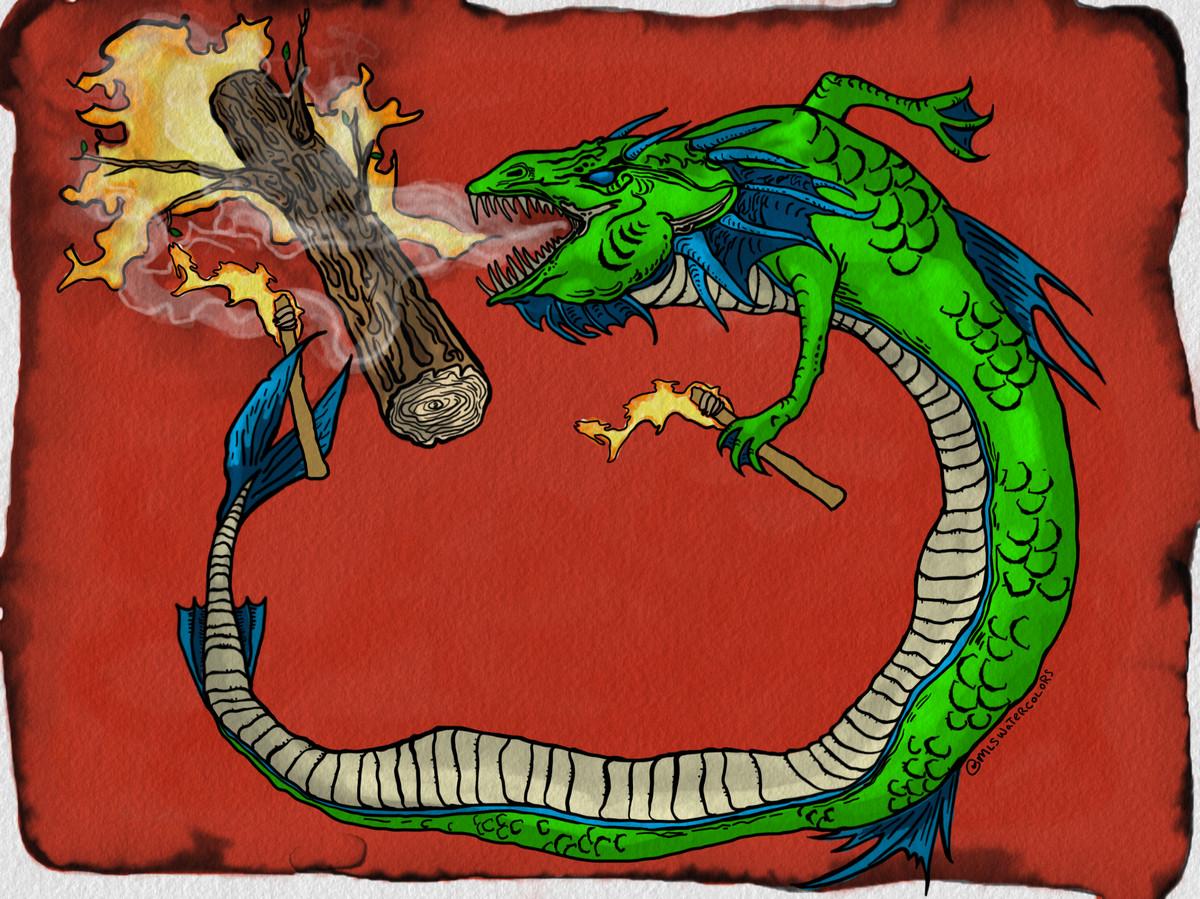 Leviathan as a dragon watercolor burning a timber log